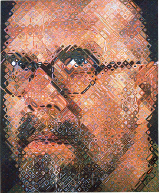 "Chuck Close, ""Self-Portrait,"" 1997. Oil on canvas, 102 x 84"" (259.1 x 213.4 cm)"