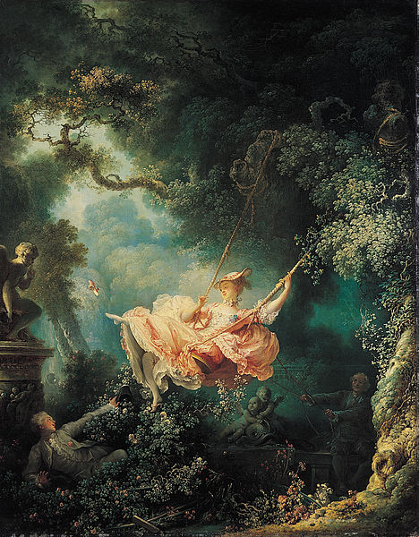 What is the significance of cupids gesture on the left-hand side of fragonards the swing
