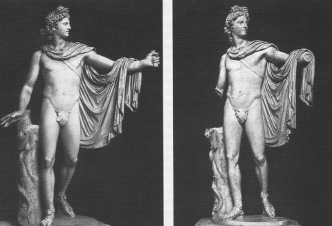 Left: Apollo Belvedere as restored in the 1530s. The left hand, right forearm, and fig leaf were added at the request of Pope Paul IV. Right: The Apollo Belvedere as restored after WWII. The Renaissance additions were removed, with the exception of the fig leaf. Today, the fig leaf also has been removed.