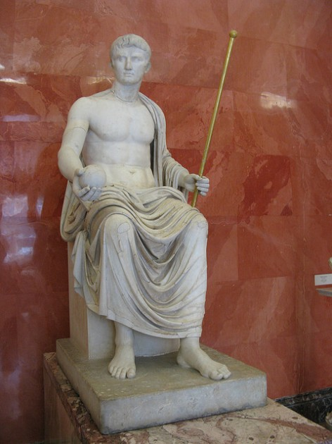 Statue of the Emperor Octavian Augustus as Jupiter, 1st quarter of the first century CE. Height 185 cm. State Hermitage Museum. Image via thisisbossi on Flickr (used via Creative Commons License; no changes made).