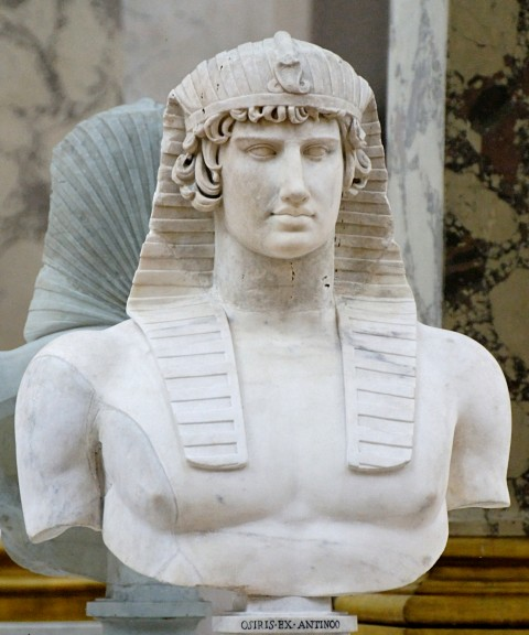 Antinous as Osiris, c. 130 CE. Originally from Hadrian's Villa at Tivoli, Louvre Museum. Courtesy Marie-Lan Nguyen via Wikipedia
