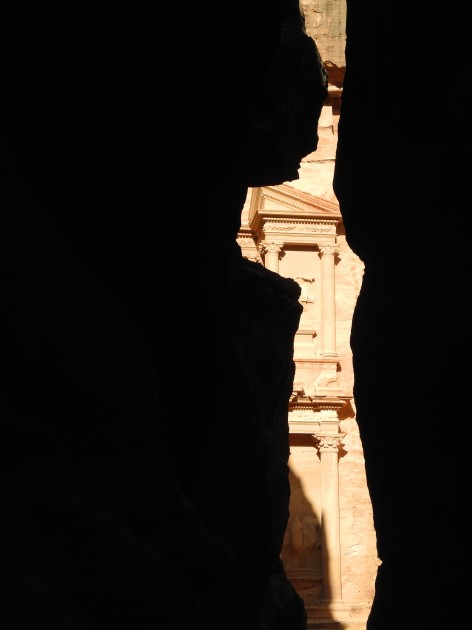 Partial view of façade Al-Khazneh (The Treasury) from the Siq (Canyon), Petra, Jordan, c. 2nd century BC - 2nd century CE.