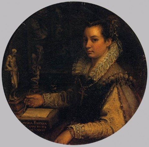 "Lavinia Fontana, ""Self Portrait In a Tondo,"" 1579"