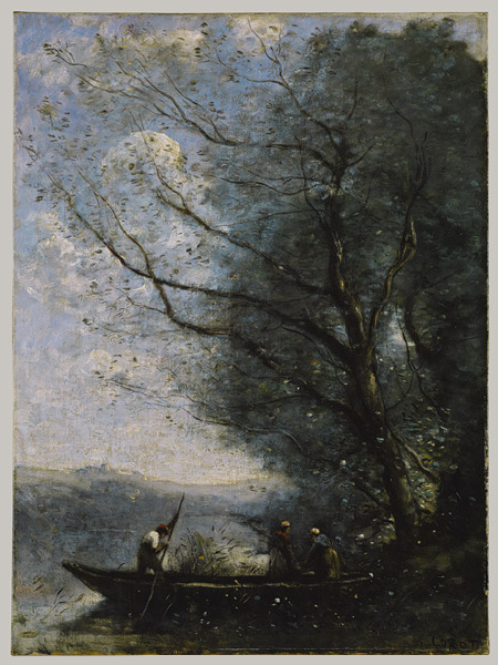 "Camille Corot, ""The Ferryman,"" ca. 1865. Oil on canvas; 26 1/8 x 19 3/8 in. (66.4 x 49.2 cm). Metropolitan Museum of Art"