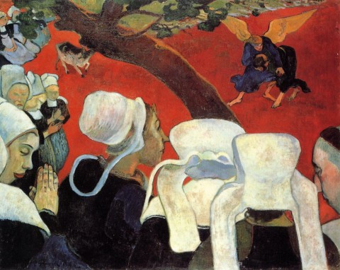 "Gauguin, ""The Vision After the Sermon (Jacob Wrestling the Angel),"" 1888. Image courtesy WikiArt"