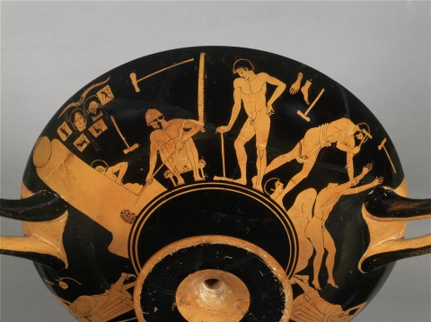 "Foundry Painter, ""A Bronze Foundry,"" 490-480 BCE. Red-figure decoration on a kylix from Vulci, Italy."