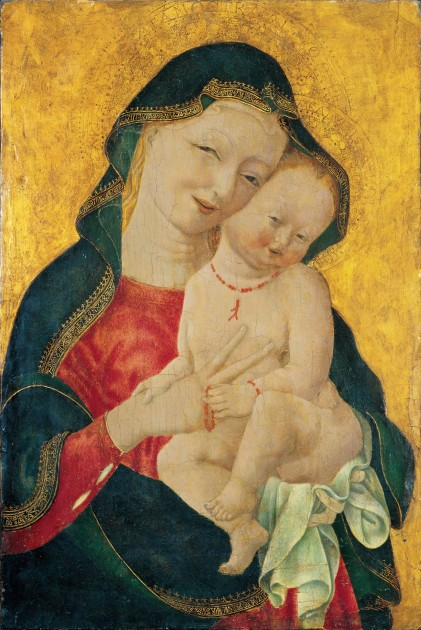 "Master of the Winking Eyes, ""Madonna and Child,"" ca. 1450. National Museum of Women in the Arts, Washington DC."