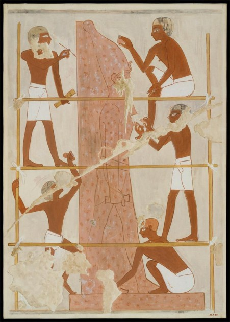Sculptors Carving a Colossal Royal Statue, from the Tomb of Rekhmire, ca. 1504-1425 BCE
