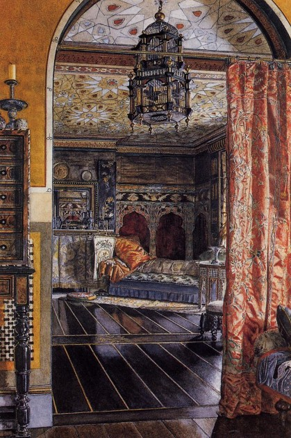 "Anna Alma-Tadema, ""The Drawing Room"" (also called ""The Drawing Room at Townshend House""), 1885. Watercolor"