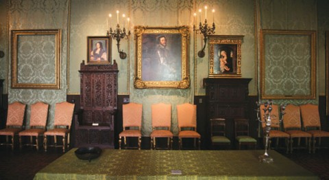 "South Wall of the Dutch Room in the Isabella Stewart Gardner Room. The frame on the left held Rembrandt's ""A Lady and Gentleman in Black"" (1633) and the frame on the right held Rembrandt's ""The Storm on the Sea of Galilee"" (1633)"