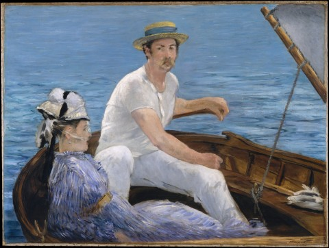 "Édouard Manet, ""Boating,"" 1874. 38 1/4 x 51 1/4 in. (97.2 x 130.2 cm). Metropolitan Museum of Art. Image courtesy Wikipedia."