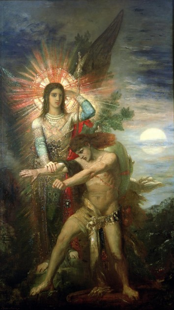 "Gustave Moreau, ""Jacob and the Angel,"" 1878. Image courtesy Wikipedia"