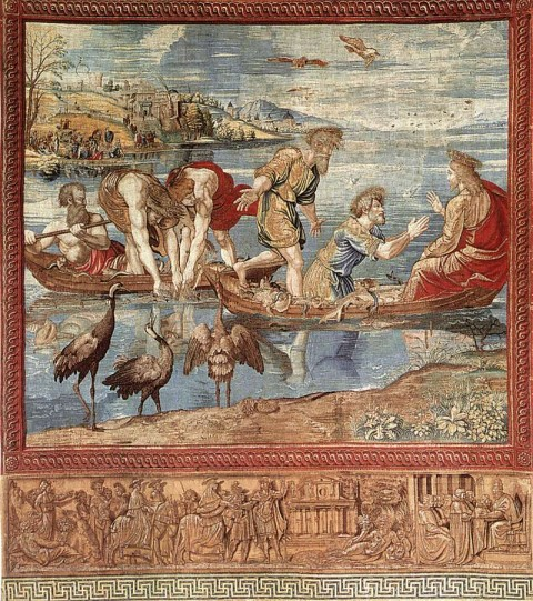 "Raphael and PIeter van Alest, ""The Miraculous Draught of Fishes,"" from the Raphael Tapestry series, c. 1519. Tapestry in silk and wool, with silver-gilt threads, height 490 cm, width 441 cm. Musei Vaticani, Vatican"