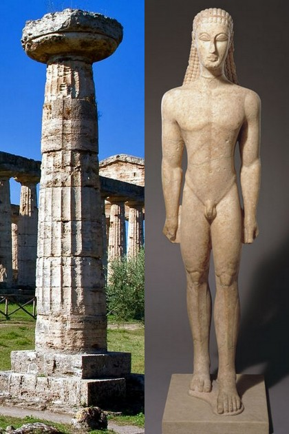 Left: Doric column from Temple of Athena at Paestum, Italy. Right: Metropolitan Kouros, c. 600 BCE