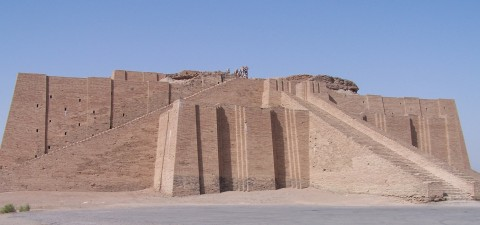 The Ziggurat of Ur (photo taken 2005). Original structure built c. 2100 BCE. Image courtesy Wikipedia via user Hardnfast.