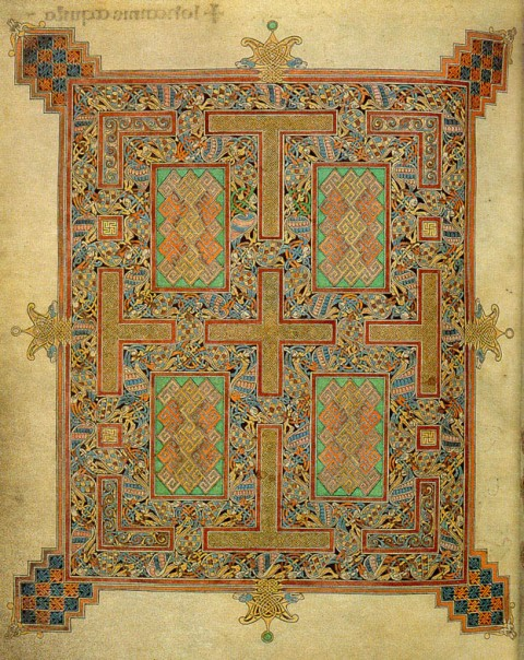 Lindisfarne Gospels, Carpet Page for Book of John, folio 210v, early 8th century