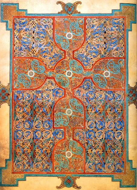 Lindisfarne Gospels, St Matthew, Cross-Carpet page, folio 26v, early 8th century CE.