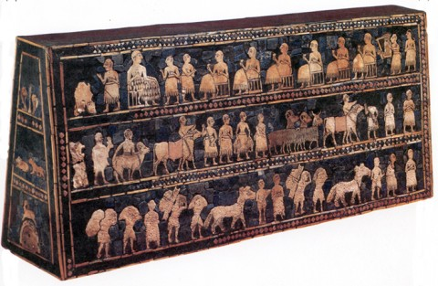 Standard of Ur, 2600-2400 BCE. Wooden box with inlaid mosaic