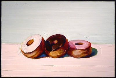 "Wayne Thiebaud, ""Three Donuts,"" 1994. Oil on canvas, 11 x 24 in. (27.9 x 35.6 cm.)"
