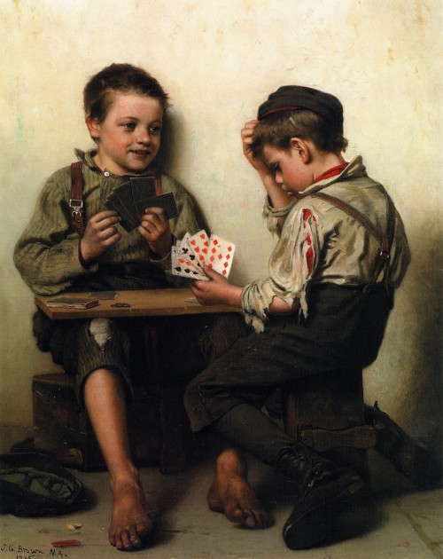 "John George Brown, ""Bluffing,"" 1885"