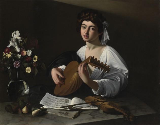 """Caravaggio (?) or Circle of Caravaggio, """"Apollo the Lute Player,"""" c. 1597. Private Collection, USA (Ex-Badminton copy)"""