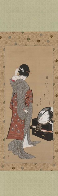 "Hokusai, ""Woman Looking at Herself in a Mirror,"" 1805. Image courtesy Wikipedia"