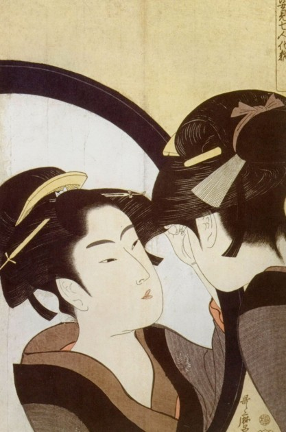 "Kitagawa Utamaro, ""Woman Before a Mirror"" (also called ""Beauty at Her Toilet""), c. 1790. Image courtesy Wikipedia."