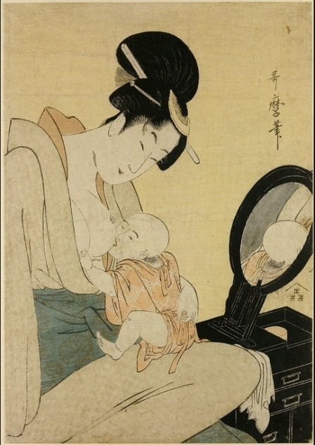 Utamaro, Woman Breastfeeding Her Child