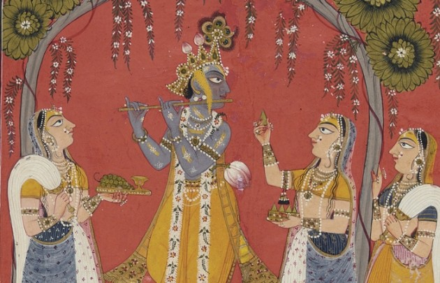 Krishna Fluting for the Gopis, page from an illustrated Dashavatara series, ca. 1730. Opaque watercolor and gold on paper, 10 1/4 x 8 in.