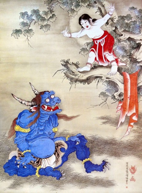 Soga Shôhaku, (1730-1781), Blue Oni, detail from a hanging scroll depicting the Sessen Doji story. Ink on silk, hanging scroll, about 1770s