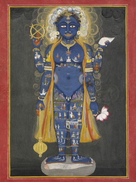 Vishnu Vishvarupa, India, Rajasthan, Jaipur, ca. 1800-20 Opaque watercolor and gold on paper, 38.5 x 28cm Victoria and Albert Museum, London
