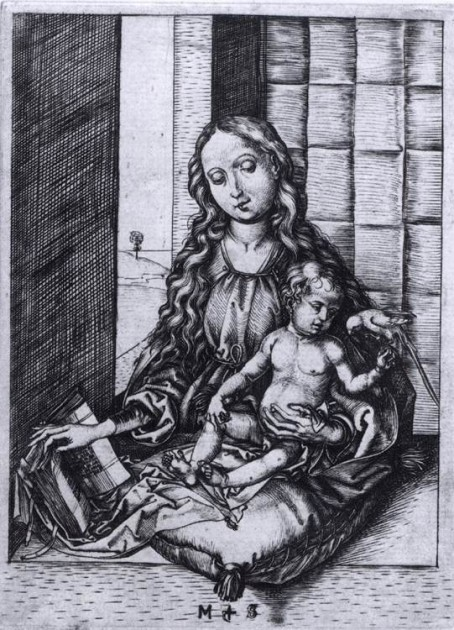 "Martin Schongauer, ""Madonna and Child with the Parrot,"" 1470-75. Engraving, 159 x 101 mm"