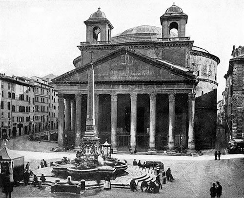 Photograph of the Pantheon in the 19th century, with two towers created by Maderno and Borromini in the 17th century.