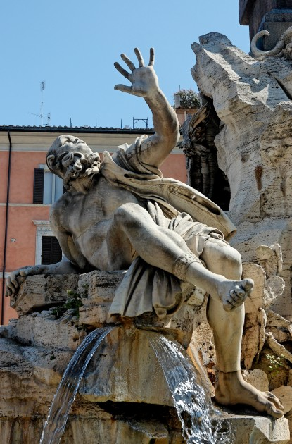 "Bernini, detail of personification of Rio de la Plata from ""Four Rivers Fountain,"" 1651, Piazza Navona, Rome. Image courtesy Wikipedia"