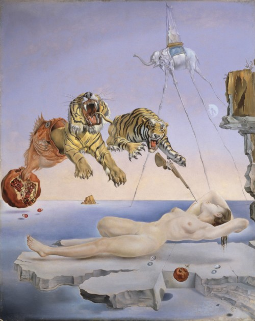"Salvador Dali, ""Dream Caused by the Flight of a Bee Around a Pomegranate a Second Before Awakening,"" 1944."