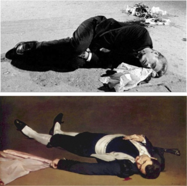 "James Dean, still shot from ""Rebel Without a Cause,"" and Manet's ""Dead Toreador,"" 1864."