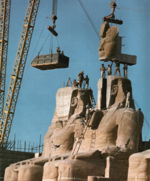 Transportation of the Temple of Rameses II colossal statues. Image from Forskning & Framsteg 1967, Issue 3, p. 16. Image courtesy Wikipedia