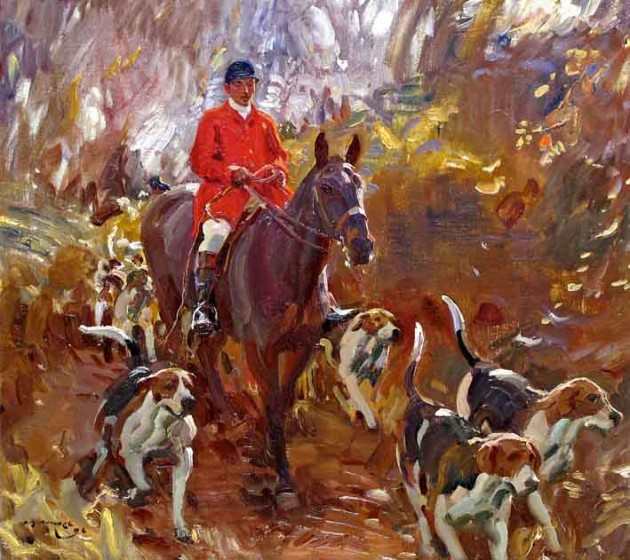 "Alfred Munnings, ""A Huntsman and Hounds,"" 1906"
