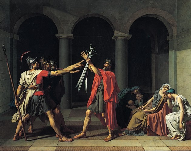 "Jacques-Louis David, ""Oath of the Horatii,"" 1784. Oil on canvas, 330 x 425 cm. Image courtesy Wikipedia"