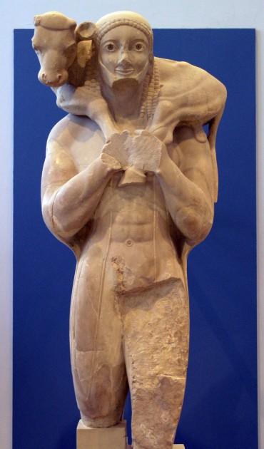 Moscophoros (Calf-Bearer), c. 570 BCE. Marble, height 165 cm (65 inches). Image courtesy Wikipedia via user Marsyas.