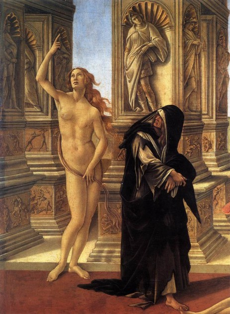 """Botticelli,  detail of Truth and Remorse from """"Calumny of Apelles,"""" 1494-95. Tempera on panel, 62 x 91 cm. Galleria degli Uffizi, Florence"""