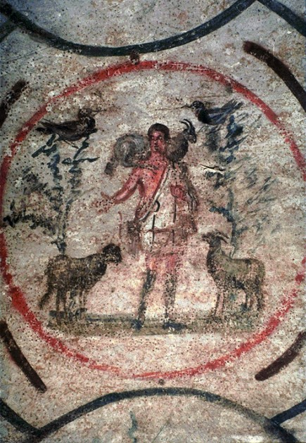 Christ the Good Shepherd, Catacomb of Priscilla, Rome, 3-4th century CE