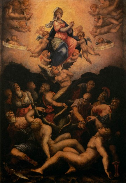 "Vasari, ""Allegory of the Immaculate Conception,"" 1541. Tempera on wood, 58 x 39 cm, Galleria degli Uffizi, Florence"