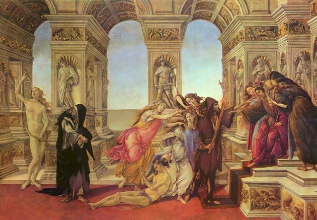 "Botticelli, ""Calumny of Apelles,"" 1494-95. Tempera on panel, 62 x 91 cm. Galleria degli Uffizi, Florence"