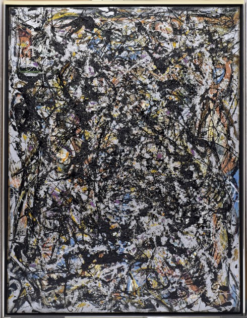 "Jackson Pollock, ""Sea Change,"" 1947. Artist and commercial oil paint, with gravel, on canvas, 57 7/8 x 44 1/8 in. (147 x 112.1 cm), Gift of Signora Peggy Guggenheim to the Seattle Art Museum"