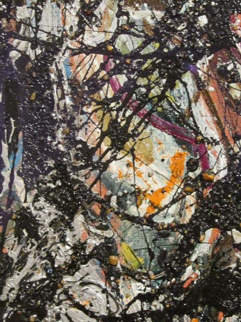 "Detail of Jackson Pollock's  ""Sea Change,"" 1947. Artist and commercial oil paint, with gravel, on canvas, 57 7/8 x 44 1/8 in. (147 x 112.1 cm), Gift of Signora Peggy Guggenheim to the Seattle Art Museum"