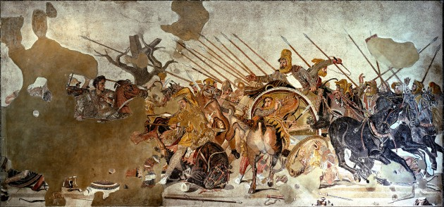 "Alexander the Great Confronts Darius III at the Battle of Issos, floor mosaic, House of the Faun at Pompeii, Italy. 1st century CE Roman copy of a Greek wall painting of c. 310 BCE, perhaps by Philoxenos or Eretria or Helen of Egypt. Entire panel 8'10"" x 17' (2.7 x 5.2 m). National Archaeological Museum, Naples. Image courtesy Wikipedia"