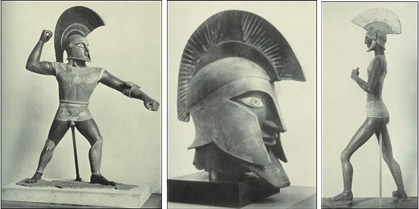 "Heroic-Size warrior (left), Colossal Head (center) and ""Old"" Warrior (right), c. 1915. The Colossal Head is 4.5 feet (137 cm), the ""Old warrior is 6.6 feet (202 cm)."