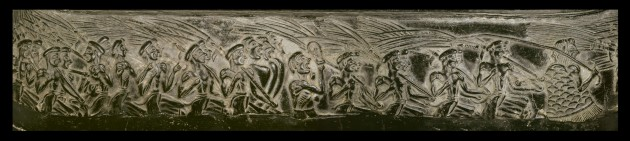 """Unrolled"" image of the Harvester Vase relief, to show detail of procession"