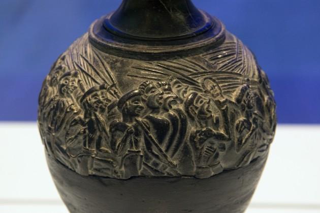Harvester Vase rhyton, c. 1500 BCE (Minoan) from Hagia Triada. Steatite.